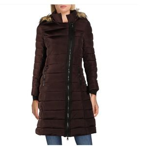 Nanette Lenore Asymmetrical Hooded Puffer Coat